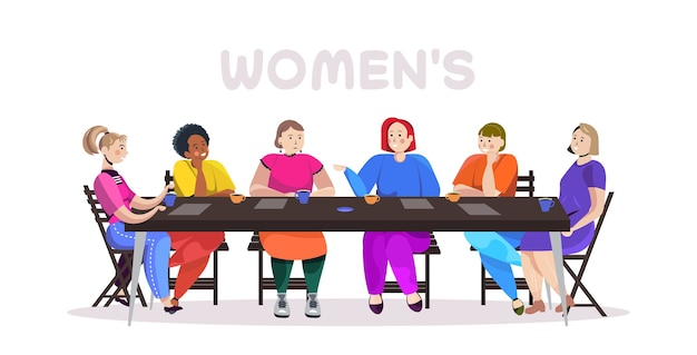 Mulheres de raça mista discutindo durante reunião na mesa redonda movimento de empoderamento feminino feminino poder união do conceito feminista Vetor Premium