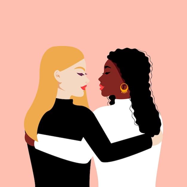 Mulheres de raças diferentes se abraçam. poder feminino. dia internacional da mulher. plano Vetor Premium