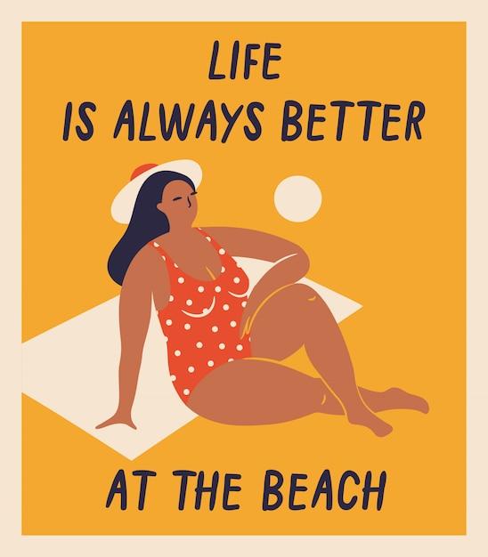Mulheres desenhados à mão do vetor isolado na praia. ilustrações engraçadas para o projeto. Vetor Premium
