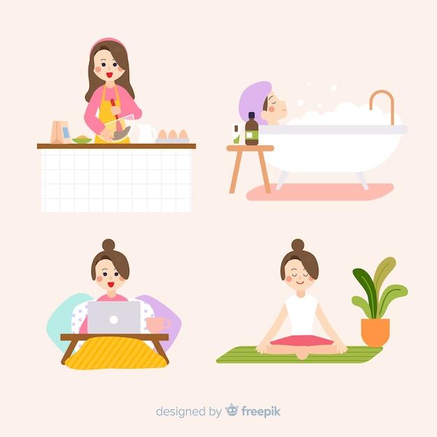 Mulheres, desfrutando, seu, tempo livre Vetor grátis