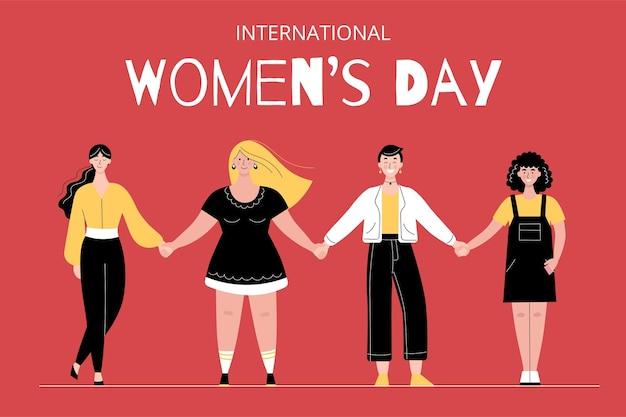 Mulheres diferentes ficam em uma fileira de mãos dadas. dia internacional da mulher. solidariedade feminina Vetor Premium
