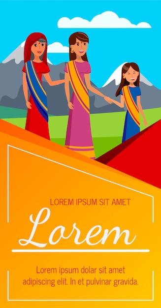 Mulheres direitos proteção flyer, layout de folheto Vetor Premium