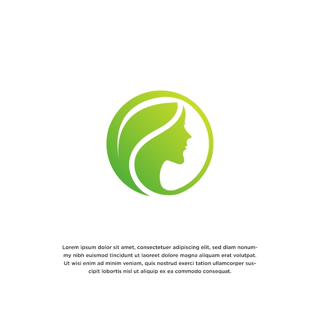 Mulheres e folhas. modelo de design de logotipo de beleza natural Vetor Premium