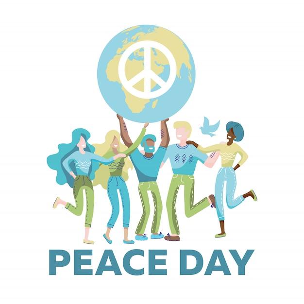 Mulheres E Homens Segurando O Planeta Com O Simbolo Da Paz