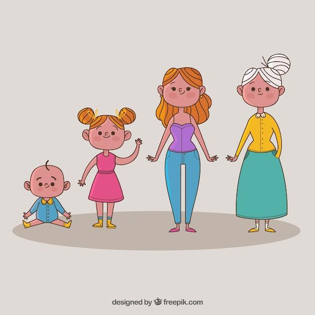 Mulheres em diferentes idades Vetor grátis