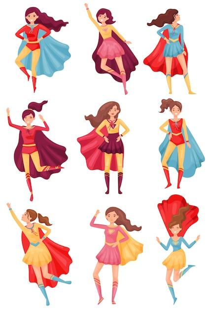 Mulheres em trajes de super-heróis vermelho-azulados. ilustração em fundo branco. Vetor Premium
