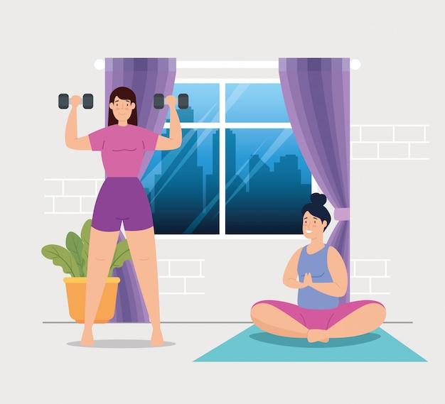 Mulheres fazendo yoga e levantamento de pesos na casa design ilustração vetorial Vetor grátis