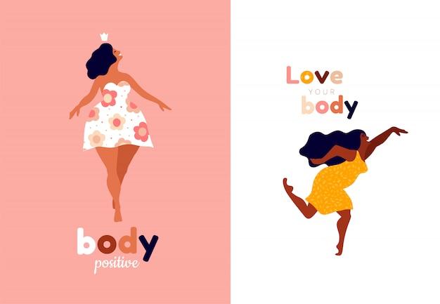 Mulheres felizes. cartões verticais positivos do corpo. ame a si mesmo, seu tipo de letras do corpo. liberdade feminina, poder feminino ou ilustração do dia da mulher internacional. Vetor Premium
