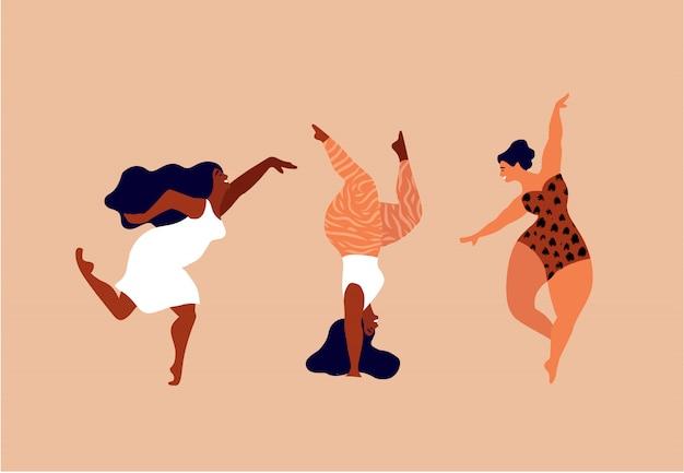 Mulheres felizes. corpo positivo, ame a si mesmo, o seu conceito de corpo. liberdade feminina, poder feminino ou ilustração do dia da mulher internacional. Vetor Premium