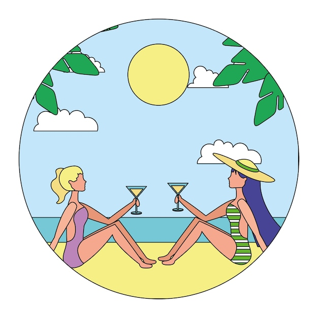 Mulheres felizes na concepção de ilustração vetorial de praia Vetor Premium