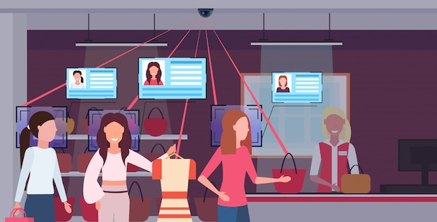 Mulheres fila linha fila balcão contador de verificação clientes identificação reconhecimento facial conceito segurança câmera sistema de vigilância sistema shopping interior horizontal potrait Vetor Premium