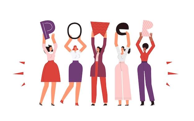 Mulheres fortes e independentes detêm o poder de inscrição. isolado em um fundo branco. Vetor Premium