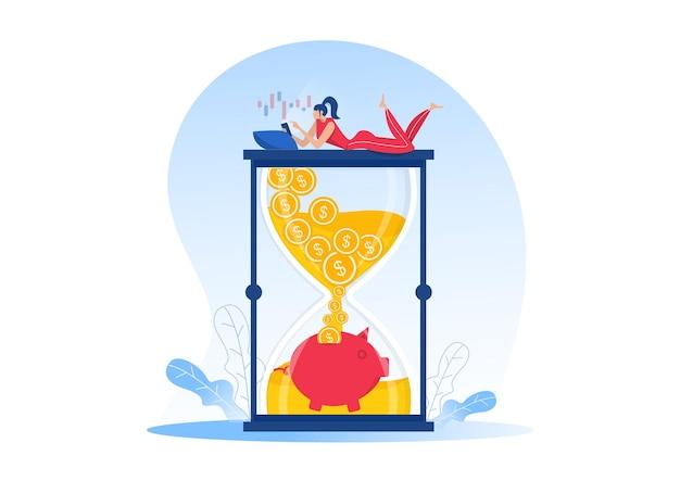 Mulheres ganham dinheiro com loja online, renda passiva, fluxo de caixa, ganham dinheiro em ecommerce para design de sites. ilustração vetorial plana Vetor Premium