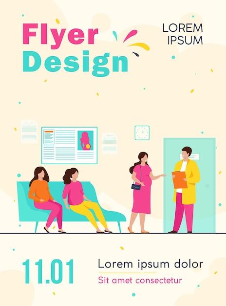 Mulheres grávidas esperando no consultório médico na clínica, sentadas no sofá ou consultando um modelo de folheto especializado Vetor grátis