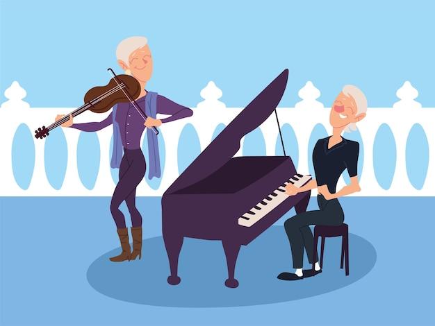 Mulheres idosas tocando instrumentos musicais, design sênior ativo Vetor Premium