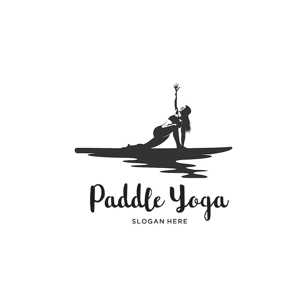 Mulheres ioga paddle board logo ilustração Vetor Premium