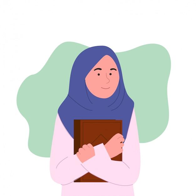 Mulheres jovens bonitos hijab com livro Vetor Premium