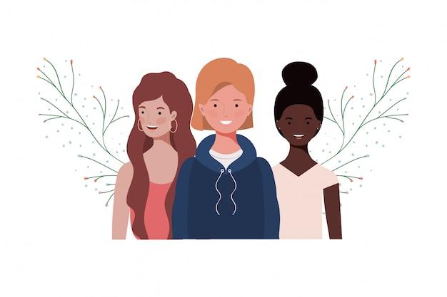 Mulheres jovens, com, ramos, e, folhas Vetor Premium