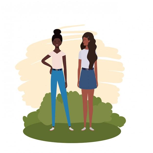 Mulheres jovens, ficar, com, paisagem Vetor Premium