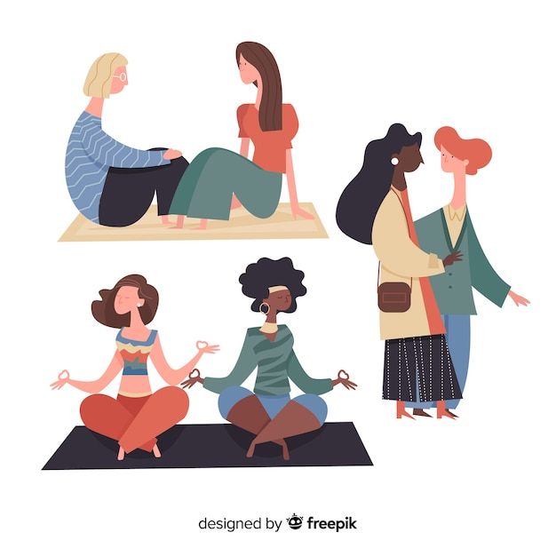 Mulheres jovens, passar um tempo juntos conjunto Vetor grátis