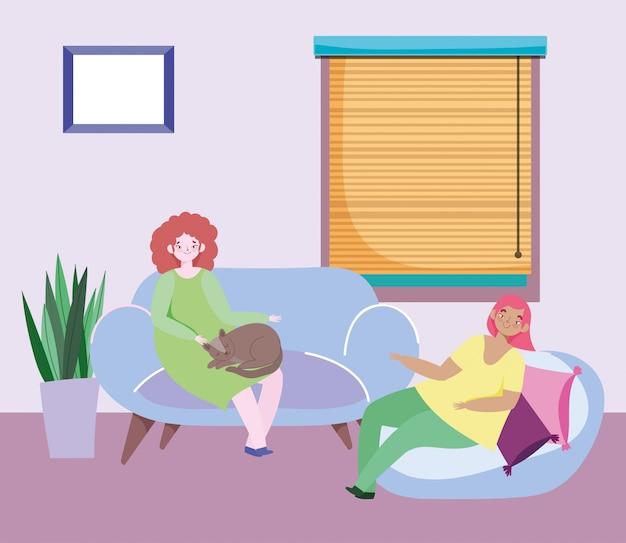 Mulheres jovens, sentado na sala de estar com ilustração de janela de gato e almofadas Vetor Premium