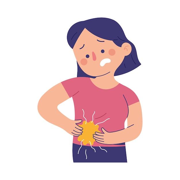 Mulheres jovens sofrem de dor abdominal inferior direita devido a dor de apendicite Vetor Premium