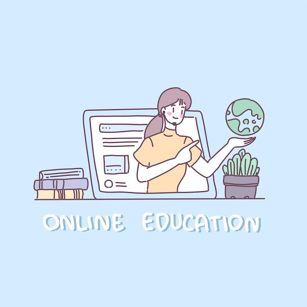 Mulheres jovens usam laptop ao vivo para ensinar livros Vetor grátis