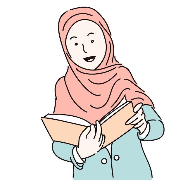 Mulheres muçulmanas vestindo hijab segurando um livro, ilustração dos desenhos animados Vetor Premium