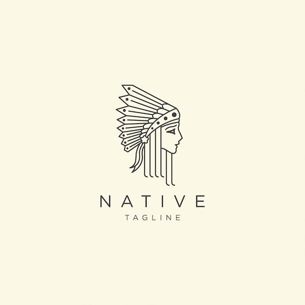 Mulheres nativas com linha estilo logotipo ícone design modelo ilustração Vetor Premium