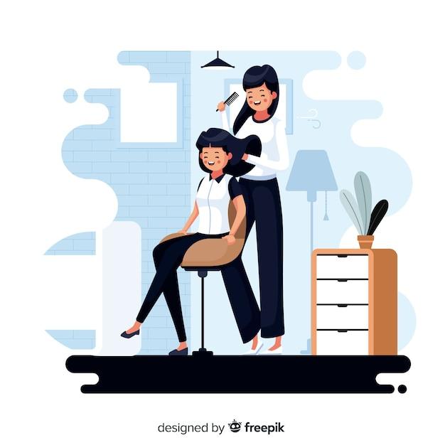 Mulheres no cabeleireiro em seu tempo livre Vetor grátis