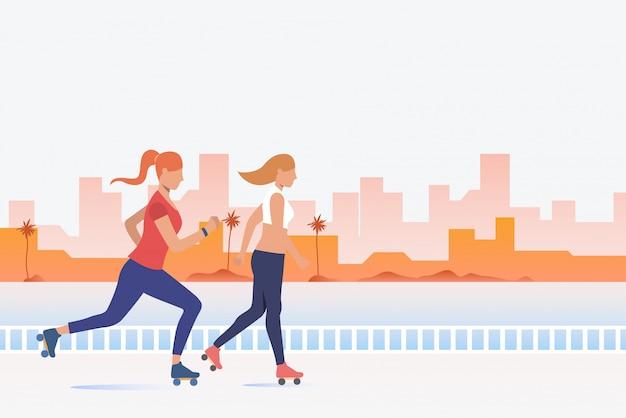 Mulheres, patinação, com, distante, edifícios, em, fundo Vetor grátis
