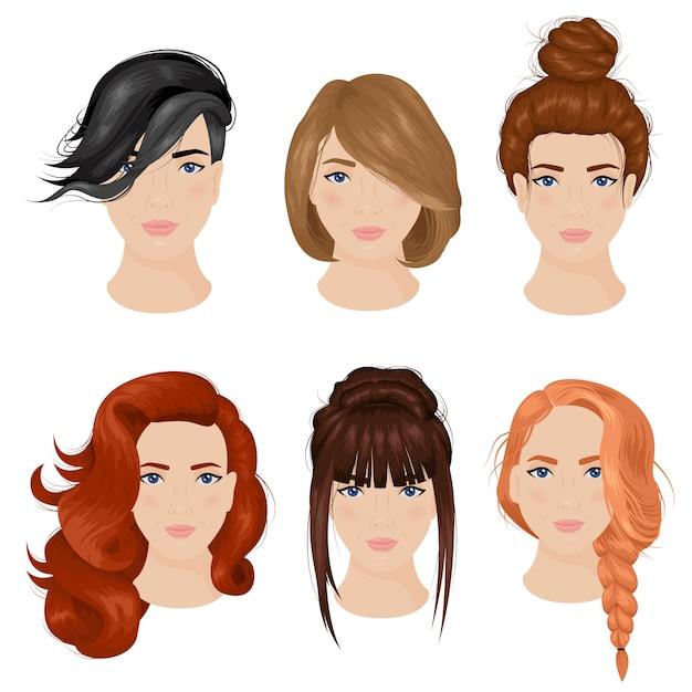 Mulheres penteado idéias 6 coleção de ícones Vetor grátis
