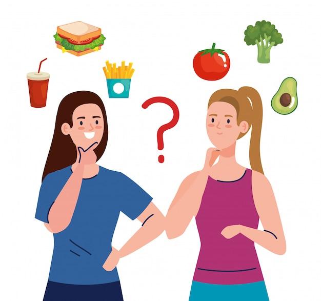 Mulheres que escolhem entre alimentos saudáveis e não saudáveis, fast food vs menu equilibrado Vetor Premium