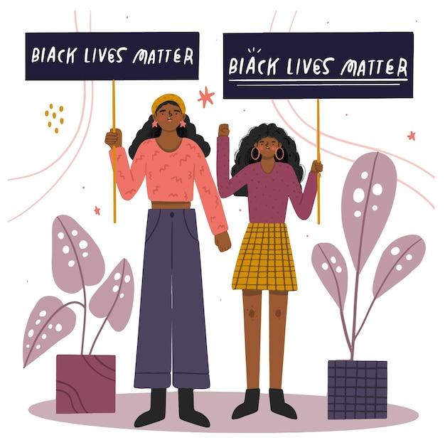 Mulheres que protestam com vidas negras importam cartazes Vetor grátis