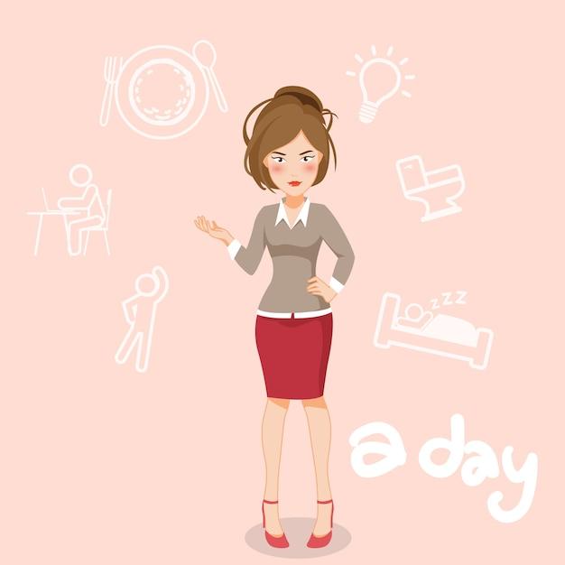 Mulheres que trabalham no personagem de desenho animado dia. Vetor Premium