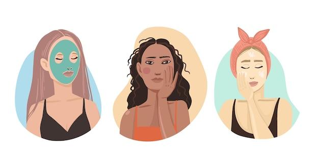Mulheres que usam cremes para a rotina de cuidados com a pele Vetor grátis