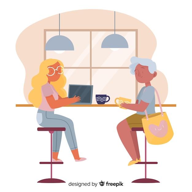 Mulheres, sentando, em, a, café Vetor grátis