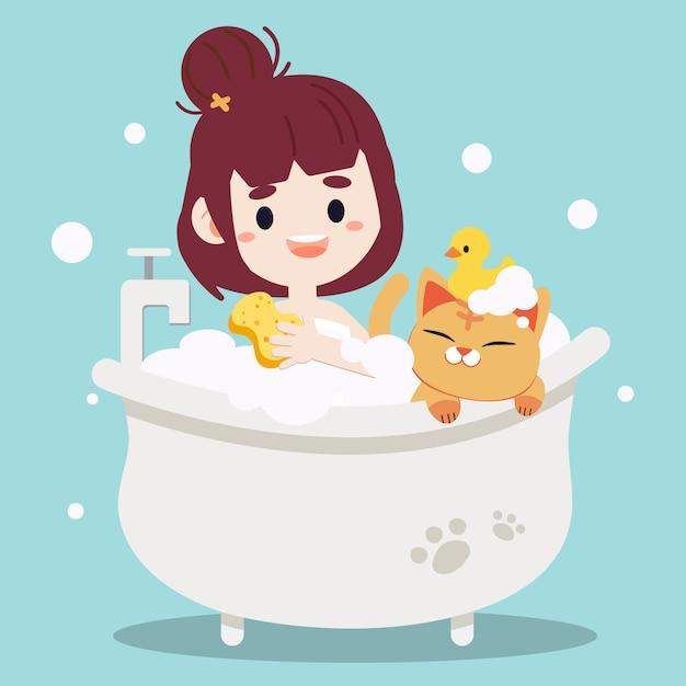 Mulheres tomando banho com um gato. Vetor Premium