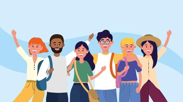 Mulheres universitárias e homens amigos com mochilas Vetor Premium