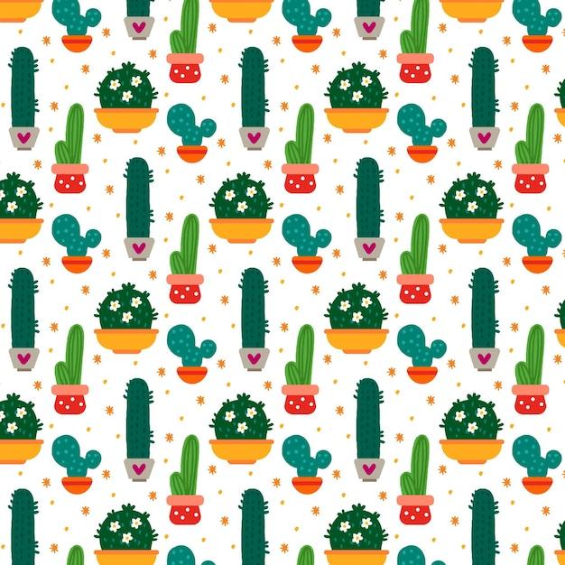 Multi colorido padrão de plantas de cacto Vetor grátis