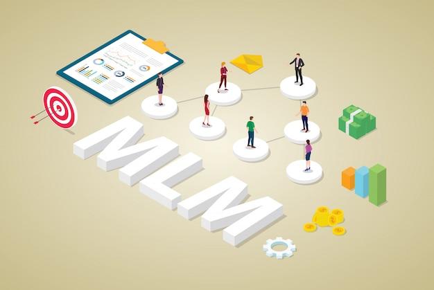 Multi-nível, marketing, conceito negócio, com, equipe, pessoas, esquema binário, conceito árvore, com, dinheiro, e, estilo isométrico Vetor Premium
