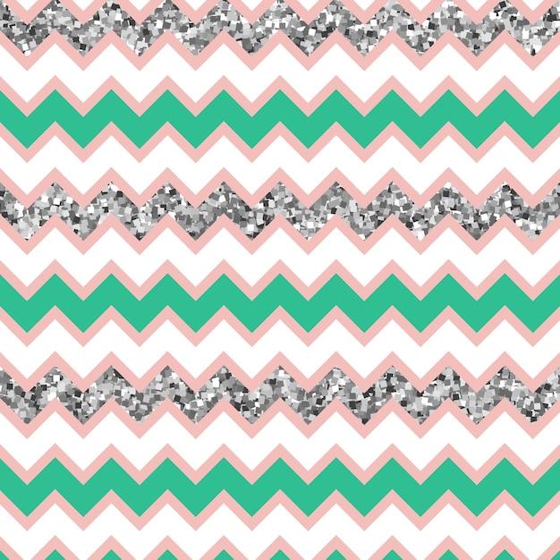 Multicolor glam zigzag pattern com efeito de brilho de prata. Vetor Premium