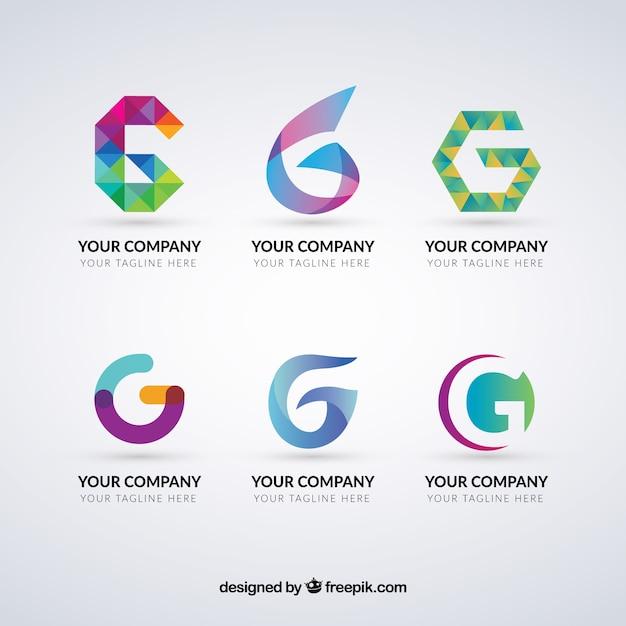 Multicolor letter g logo collection Vetor grátis