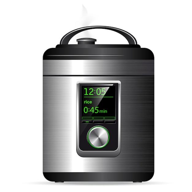 Multicooker moderno de metal. panela de pressão para cozinhar alimentos sob pressão. controle eletrônico. vista lateral. Vetor Premium