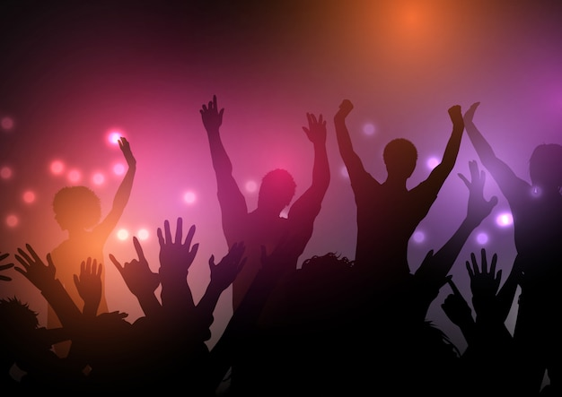 Multidão de festa com fundo de luzes Vetor grátis