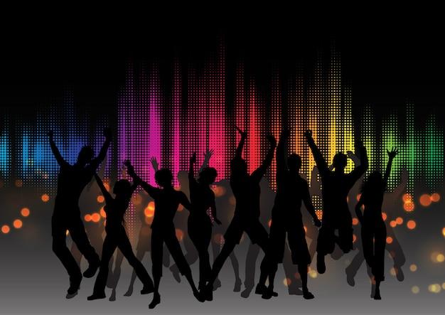 Multidão de festa no design do equalizador gráfico Vetor grátis