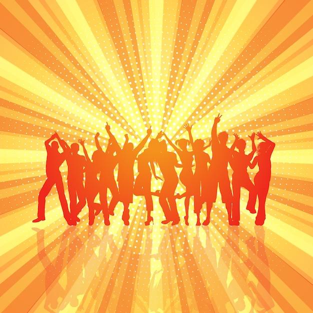 Multidão de festa no fundo retrô starburst Vetor grátis