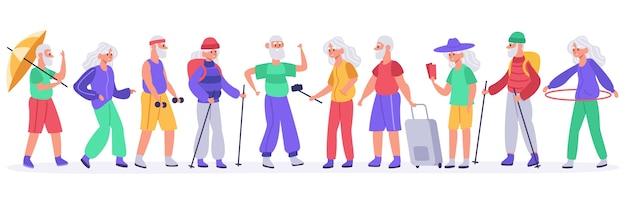 Multidão de idosos ativos Vetor Premium