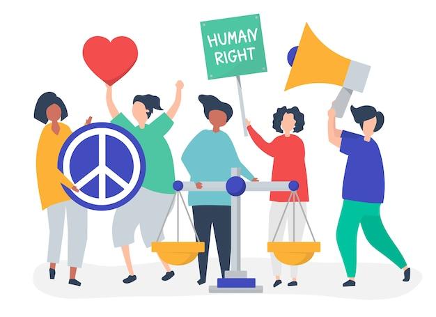 Multidão de manifestantes se unindo para apoiar os direitos humanos Vetor grátis