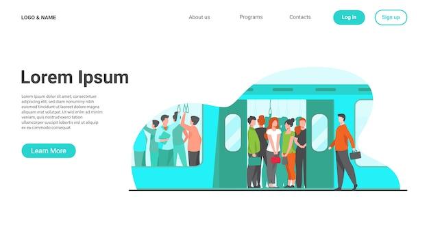 Multidão de passageiros viajando de metrô Vetor grátis
